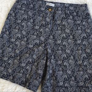 Kim Rogers navy and white paisley shorts size 14